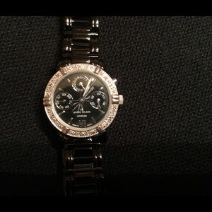 Anne Klein Black Metal Band Watch
